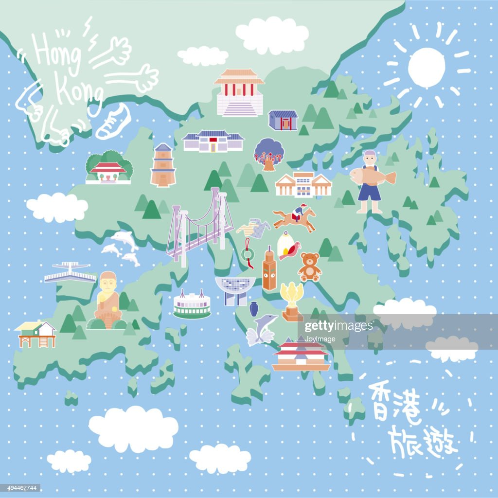 Hong Kong Travel Map Vector Art Thinkstock