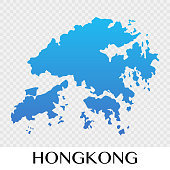 Hongkong map in Asia continent illustration design