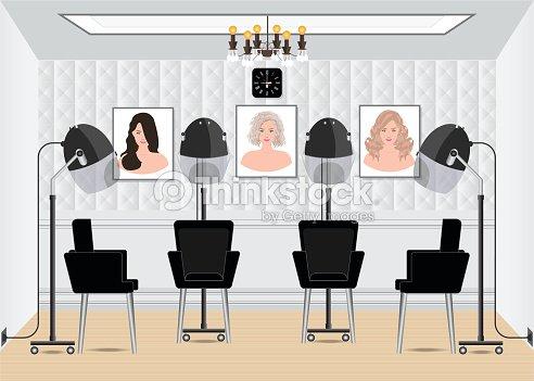 Hood Haartrockner Im Beautysalon Mit Plakat Frisur Im Salon ...