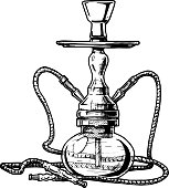 Vector hand drawn sketch of hookah in vintage engraved style. isolated on white background.