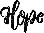 Hope. Lettering phrase on white background. Design element for poster, card, banner, sign. Vector illustration
