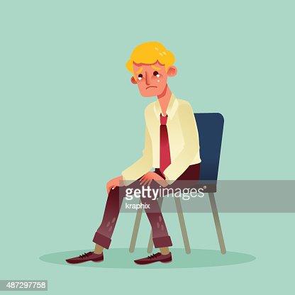 Stuhl comic  Hoffnungslose Business Mann Sitzt Auf Einem Stuhl Und Weinen Comic ...