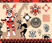 Collection of traditional Hopi Indian symbols and patterns.