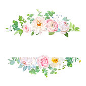 Horisontal botanical vector design banner. Pink rose, white peony, dahlia, ranunculus, eucalyptus, succulents, flowers, greenery. Natural spring card or frame. All elements are isolated and editable