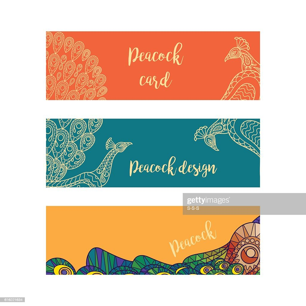 Horizontal banners set with peacocks : Arte vettoriale