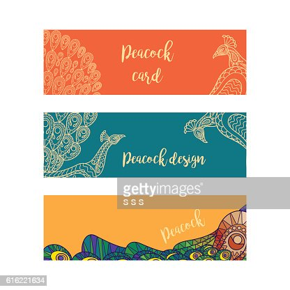 Horizontal banners set with peacocks : Vector Art
