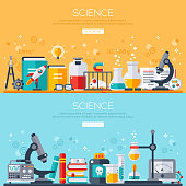 Flat design vector illustration concept of science. Horizontal banners set with scientist workplaces. Scientific Research, Chemical Experiment.