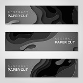 Horizontal banners with 3D abstract background, black paper cut shapes. Vector design layout for business presentations, flyers, posters and invitations. Carving art