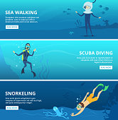 Horizontal banners with sea scuba divers. Funny cartoon characters scuba diver underwater swim ocean, vector illustration