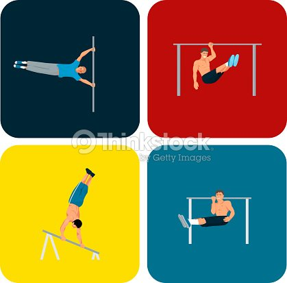 Horizontal bar chin-up strong athlete man gym exercise street workout tricks muscular fitness sport pulling up character vector illustration