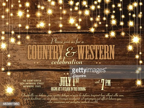 country and western invitation design template string lights, Wedding invitations