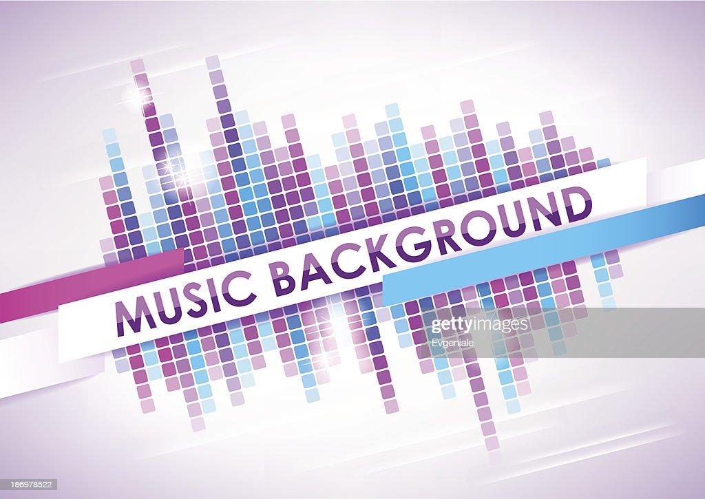 Horizontal light music mosaic background.
