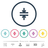 Horizontal merge tool flat color icons in round outlines. 6 bonus icons included.