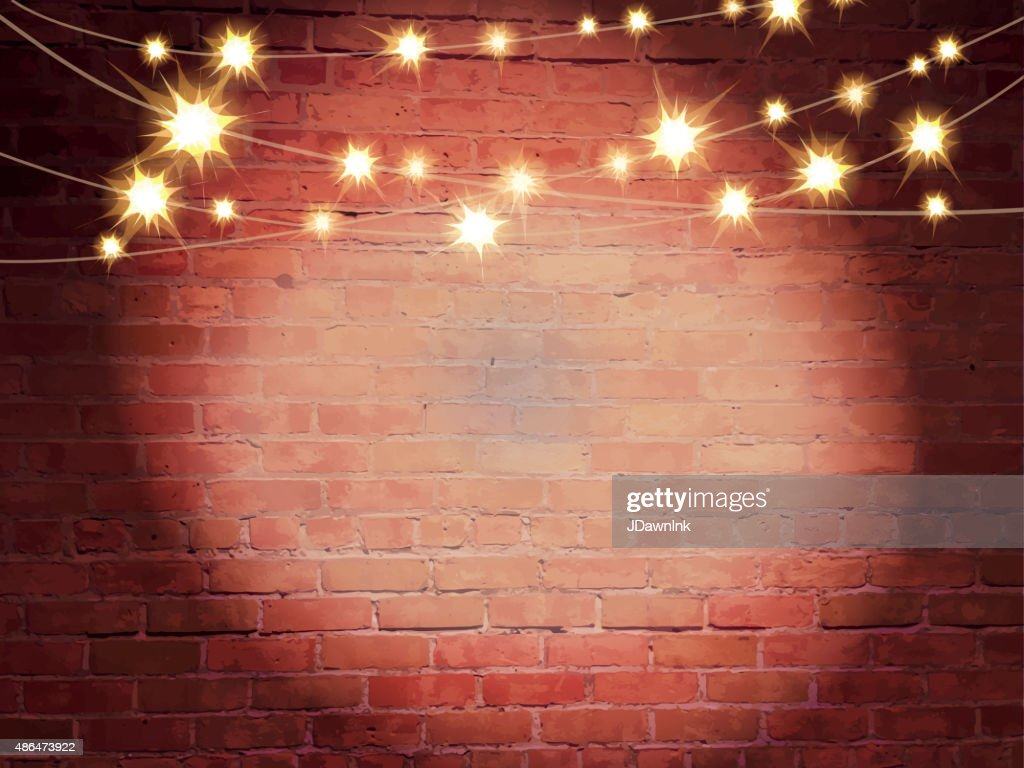 Wall Lights On Brick : Horizontal Old Fashioned Brick Wall With Elegant String Lights Background Vector Art Getty Images