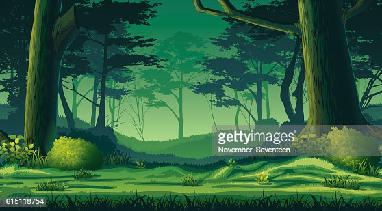 Horizontal seamless background with forest : ベクトルアート