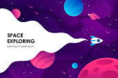 horizontal space background with abstract shape and planets. Web design. space exploring. vector illustration