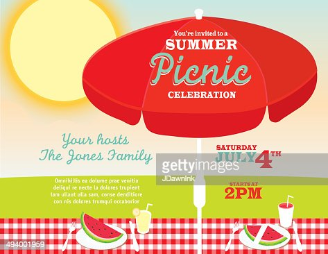 Picnic Or Barbecue Family Fun Event Invitation Design Template