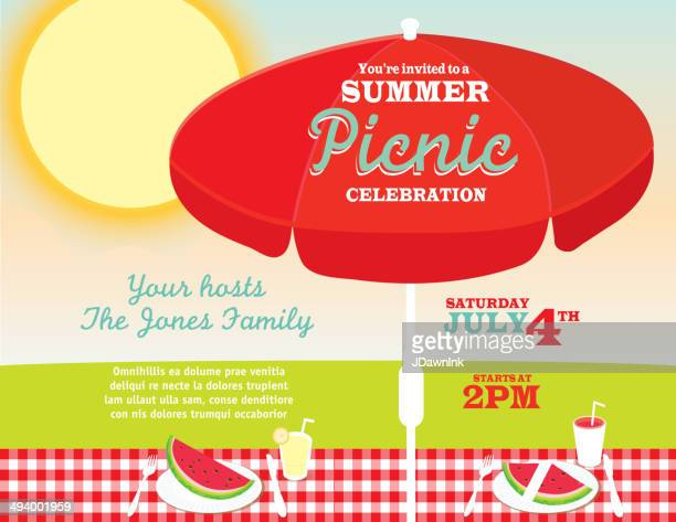 Picnic And Barbecue Party Cream Colors Invitation Design Template – Picnic Invitation Template