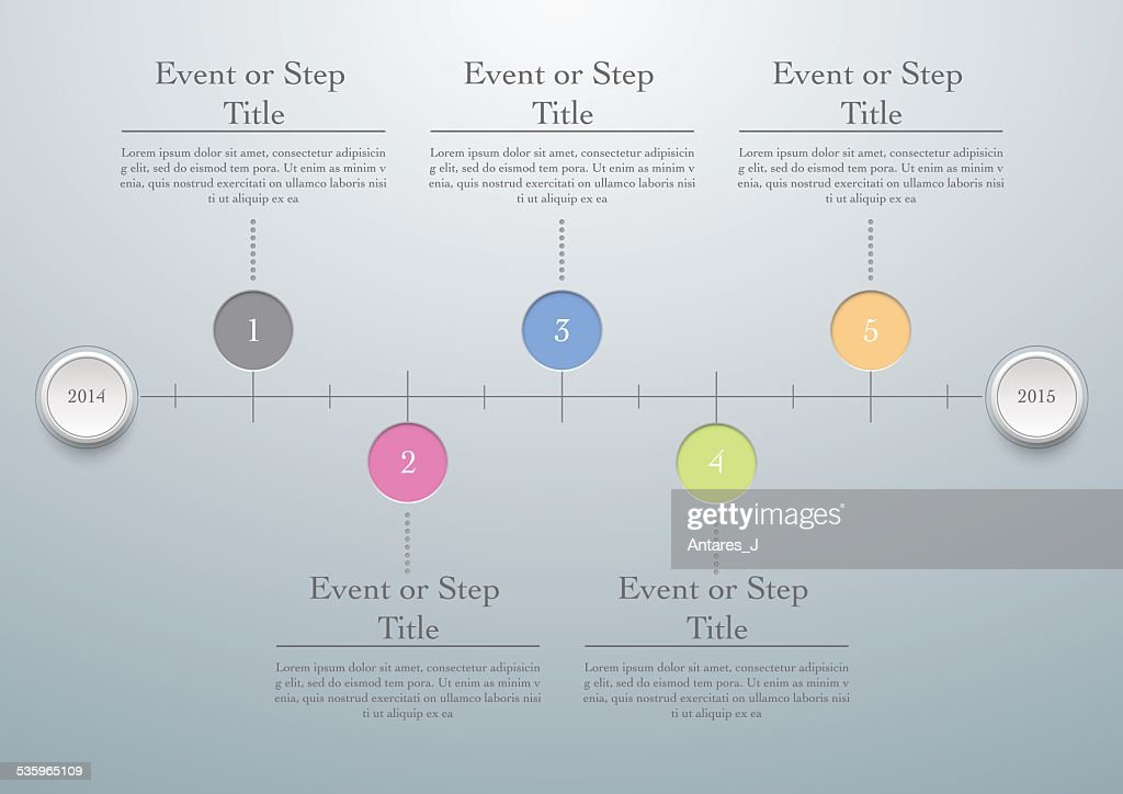 Horizontal timeline easy editable template, vector illustration : Vector Art