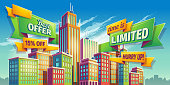 Vector cartoon illustration, banner, urban background with modern big city buildings, skyscrapers, business centers and space for your text. Advertising banner for real estate agency