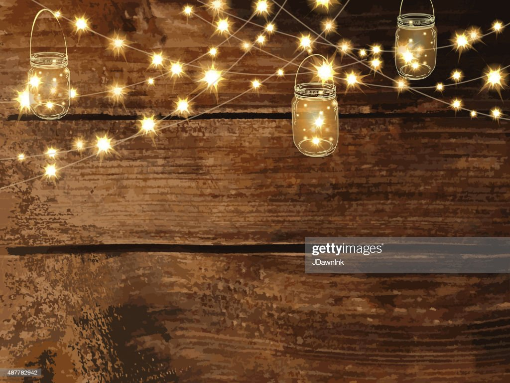 Christmas String Lights Background : Horizontal Blank Invitation Design Template With String Lights And Jars Vector Art Getty Images