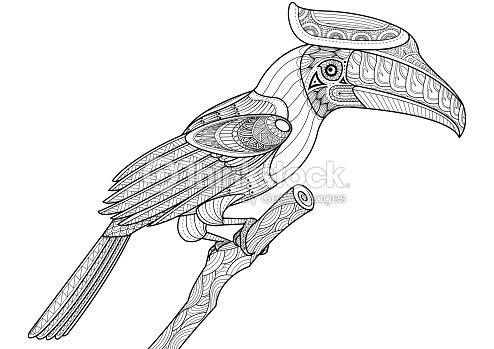Coloriage Oiseau Arbre.Calao Oiseau Sur Larbre Zentangle Pour Livre De Coloriage Clipart
