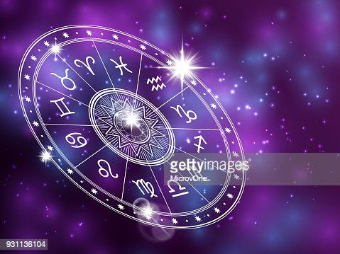 Cercle d'horoscope sur backgroung brillante - toile de fond l'espace avec le cercle blanc de l'astrologie : Clipart vectoriel