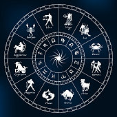 Horoscope circle on a dark blue background.Circle with signs of zodiac.Vector illustration