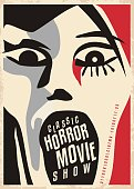 Horror movies poster design with dreadful face screaming. Cinema poster for scary movies classical show. Cubism style artistic vector illustration.