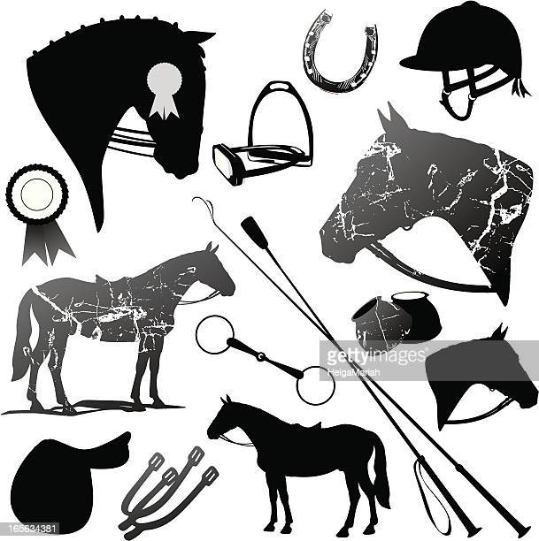 Horse And English Riding Black Silhouettes Set
