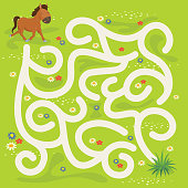 Horse and Grass Maze Vector Illustration