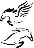 black and white vector outlines of jumping horse and pegasus