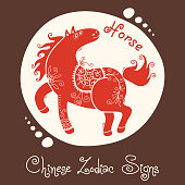 Horse. Chinese Zodiac Sign. Silhouette with ethnic ornament. Vector illustration