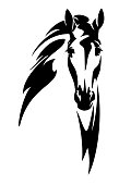 horse head with flying mane front view black and white vector design