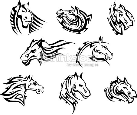 horse head tribal tattoos vector art thinkstock. Black Bedroom Furniture Sets. Home Design Ideas