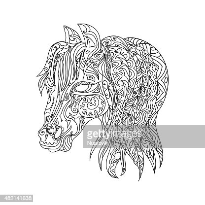 Testa Di Cavallo Zentangle Arte Vettoriale Thinkstock