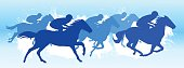 horse racing in a Racecourse Blue silhouette