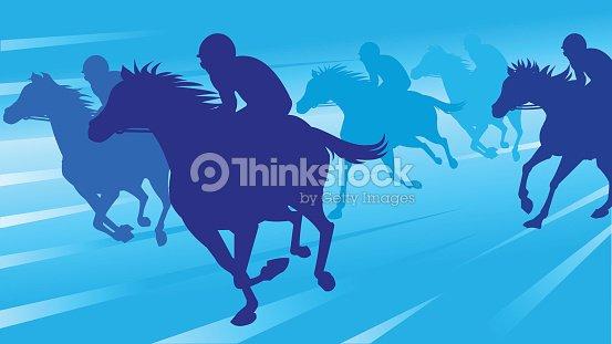 Horse Race Silhouette Vector Art