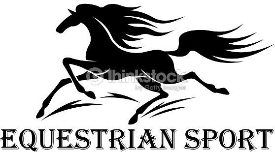 Horse Racing Symbol With Running Wild Mustang Vector Art Thinkstock