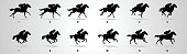 Horse Rider run cycle silhouette for animation, loop,Horse Rider run cycle silhouette