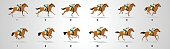 Horse Rider run cycle for animation, loop,Horse Rider run cycle silhouette