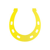 Horse shoe gold icon on background for graphic and web design. Simple vector sign. Internet concept symbol for website button or mobile app