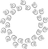 Horse shoes in ring on white background. Vector illustration.