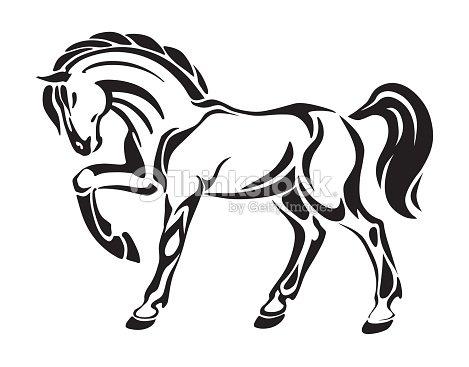 Cavallo Tatuaggio Stilizzato Disegno Grafica Vettoriale