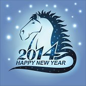 The symbol of New Year 2014 - horse with stars. Nice conceptual illustration of the Year of Horse.