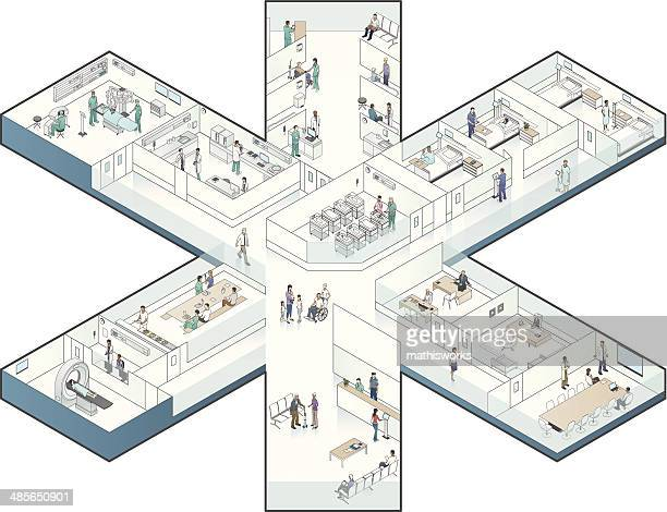 Hospital Cutaway Illustration, Star-Shaped