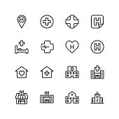 Hospital icon set. Collection of high quality black outline logo for web site design and mobile apps. Vector illustration on a white background.