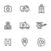 thin line hospital icons set on white background