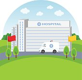 Vector illustration of a hospital building and ambulance.