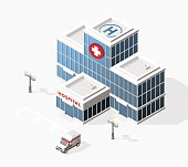 Isometric High Quality City Element with 45 Degrees Shadows on White Background.